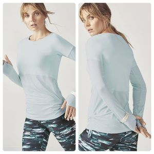 Fabletics Sterling Blue Cashel Top W/ Thumb Hole